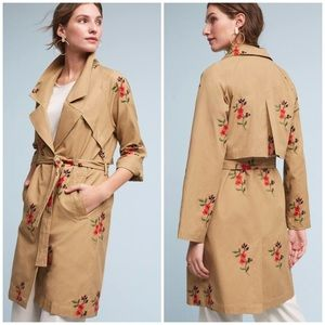 NWT! Anthropologie embroidered trench coat!